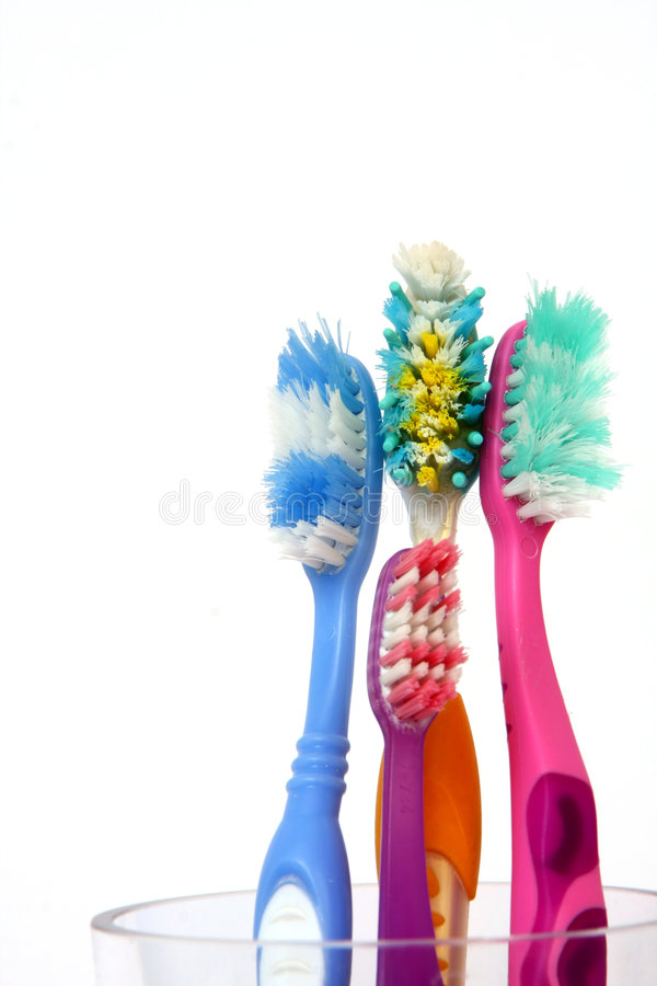 vieilles brosses à dents photographie stock libre de droits