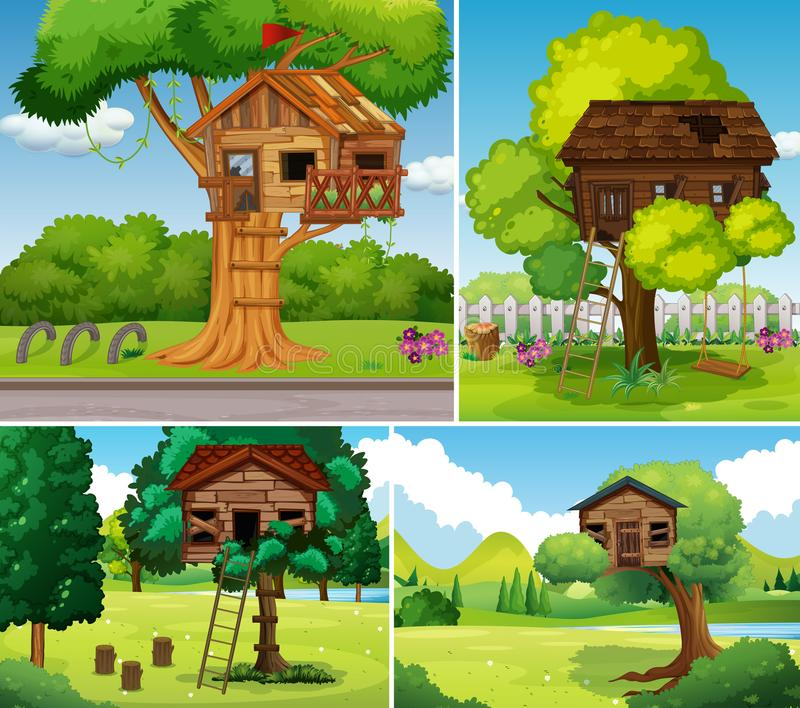 Vieilles cabanes dans un arbre en parc illustration stock