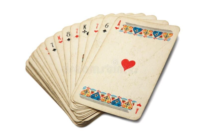 Vieilles cartes de jeu image libre de droits