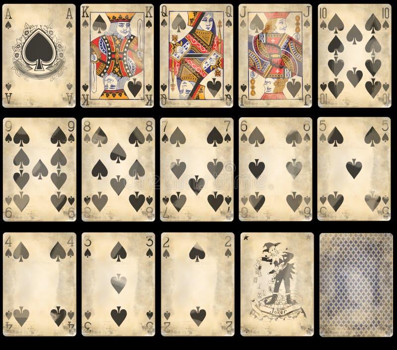 Vieilles cartes de jeu de tisonnier - cosses photographie stock libre de droits