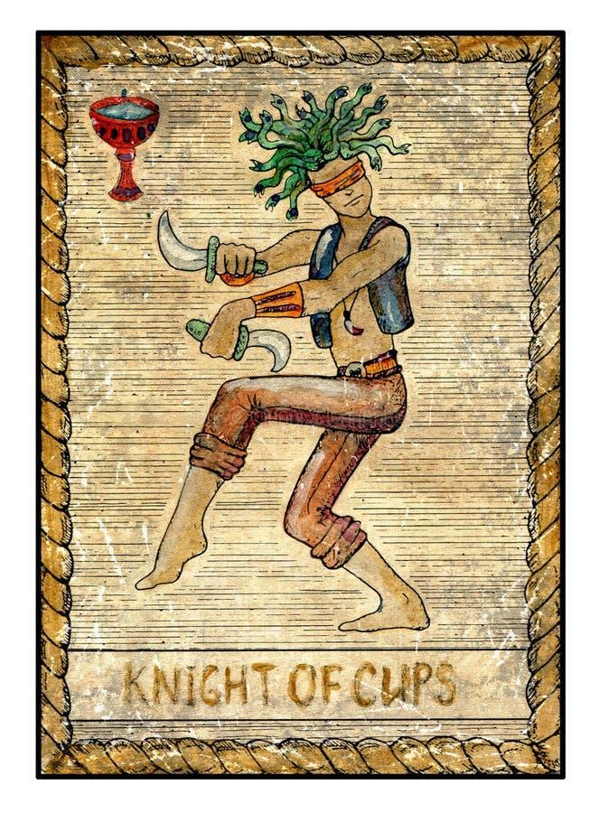 Vieilles cartes de tarot Pleine plate-forme Chevalier des tasses illustration de vecteur
