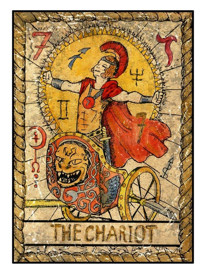 Vieilles cartes de tarot Pleine plate-forme Le char illustration de vecteur