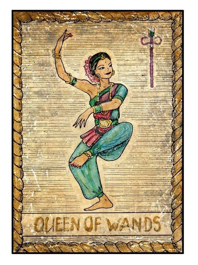 Vieilles cartes de tarot Pleine plate-forme Reine des baguettes magiques illustration libre de droits