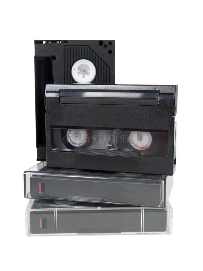 Vieilles cassettes vidéo analogiques hi8 v8 image stock