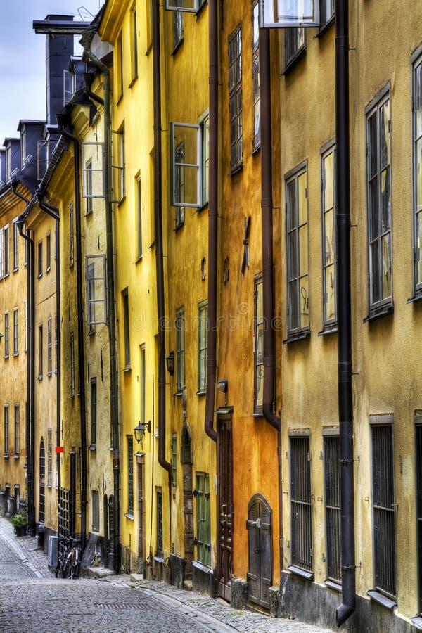 Vieilles façades de ville de Stockholm. photographie stock libre de droits