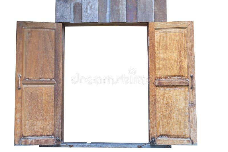 Vieilles fenêtres jumelles en bois D'isolement sur le fond blanc ?conomisez avec le chemin de coupure images libres de droits