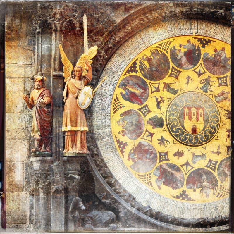Vieilles horloges à Prague photos libres de droits