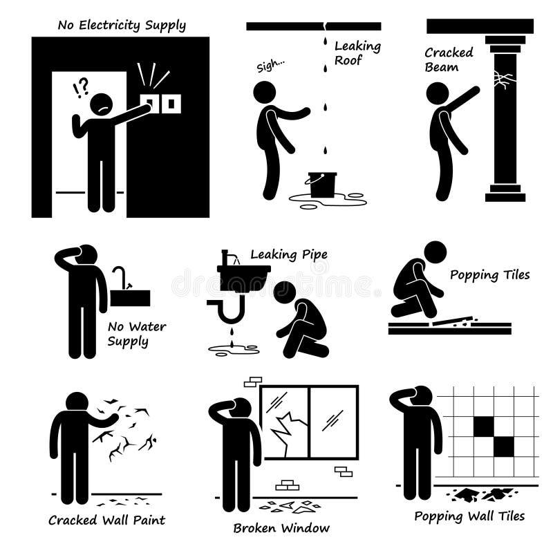 Vieilles icônes de Cliparts de problèmes de bâtiment de Chambre cassée illustration stock