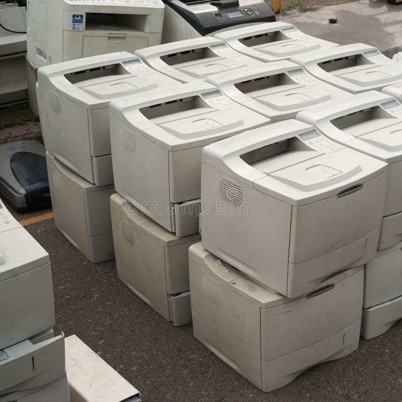 Vieilles imprimantes photo libre de droits