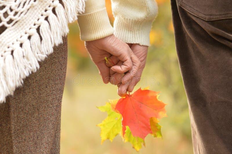 Vieilles mains de fixation de couples photo stock