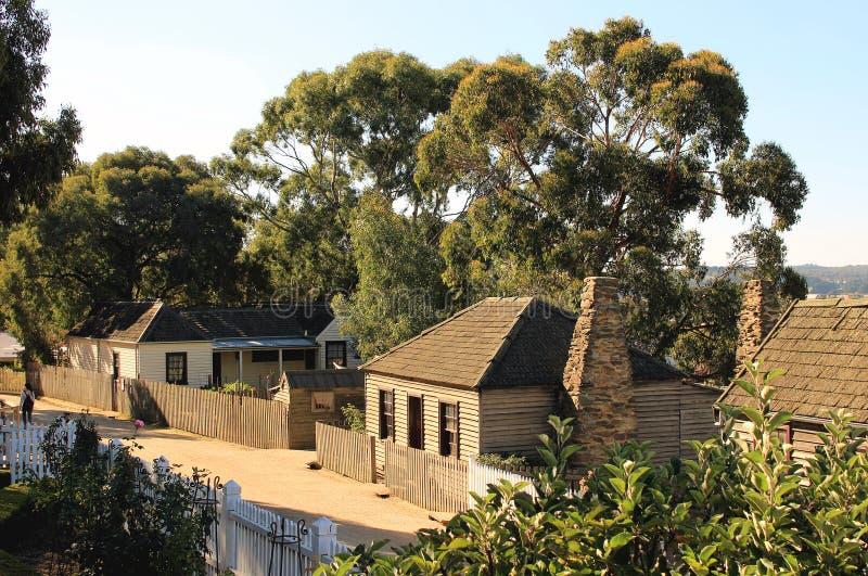 Vieilles maisons à la rue en colline souveraine, Ballarat, Victoria, photos stock