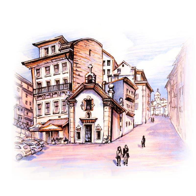 Vieilles maisons colorées à Ribeira, Porto, Portugal illustration stock
