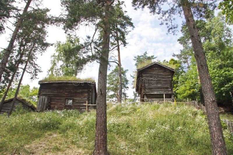 Vieilles maisons des paysans norvégiens du siècle dernier image libre de droits