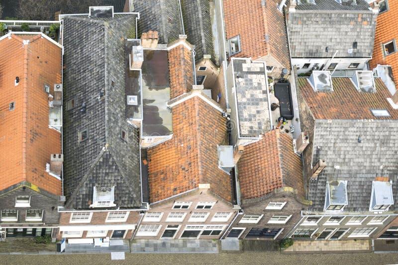Vieilles maisons néerlandaises à Delft images libres de droits