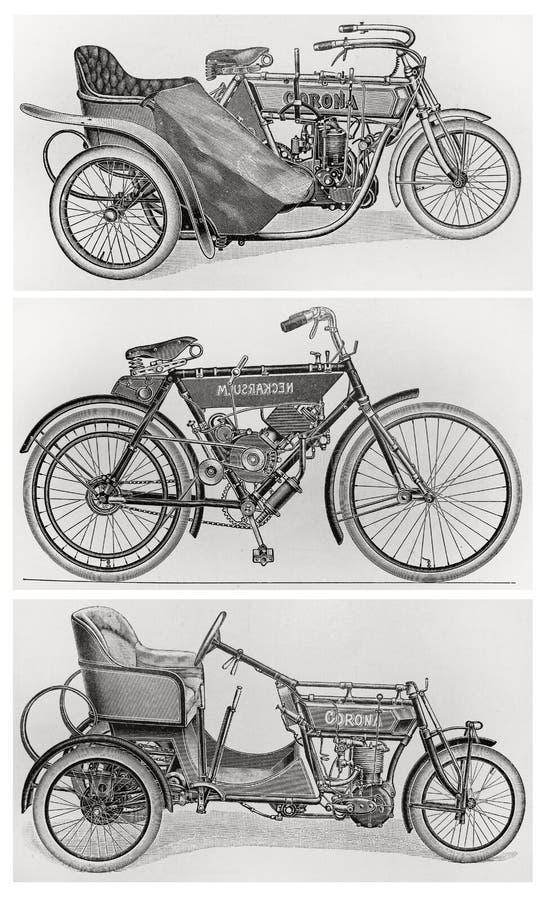 Vieilles motos de cru illustration libre de droits