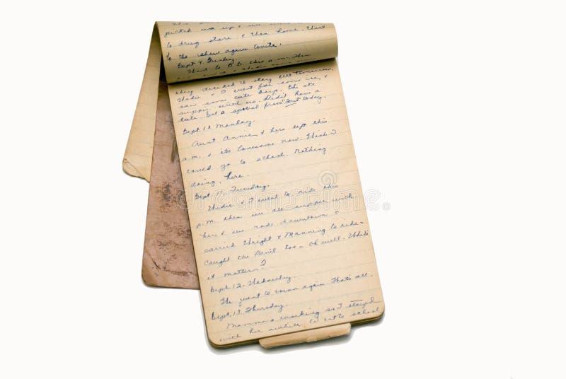 Vieilles pages de livre/agenda de mémoire photographie stock