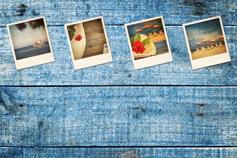 Vieilles photos portées de polaroïd de vacances photos stock