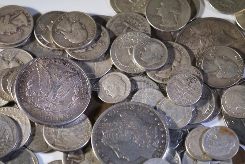 Vieilles pièces de monnaie des USA d'argent photographie stock