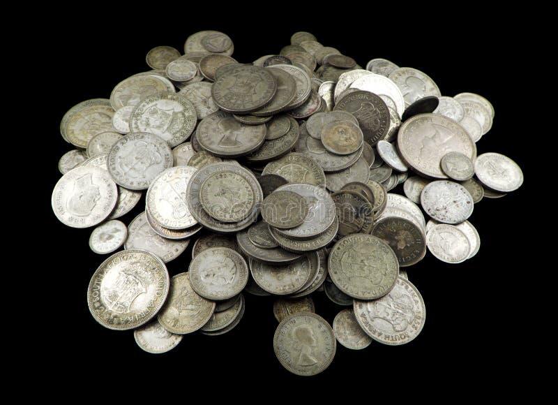 Vieilles pièces en argent images libres de droits