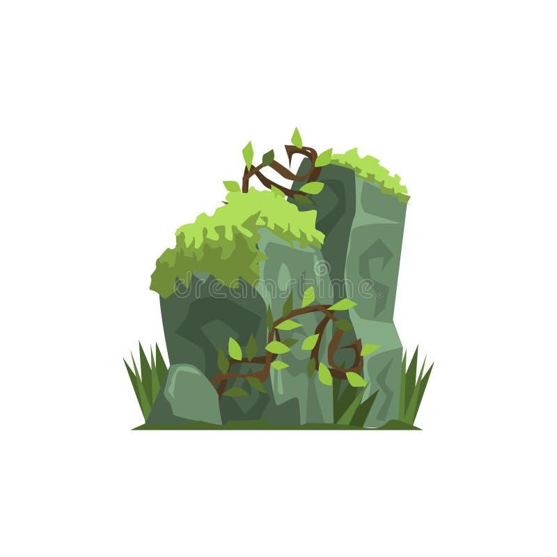 Vieilles pierres couvertes en Moss Jungle Landscape Element illustration stock