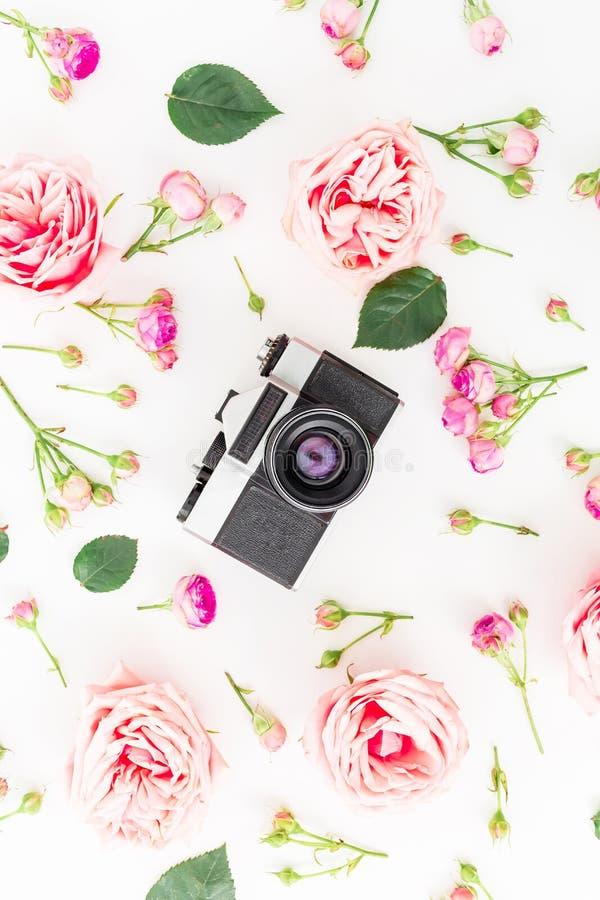 Vieilles rétros appareil-photo et roses, bourgeons et feuilles sur le fond blanc Configuration plate, vue supérieure Fond de cru photos libres de droits