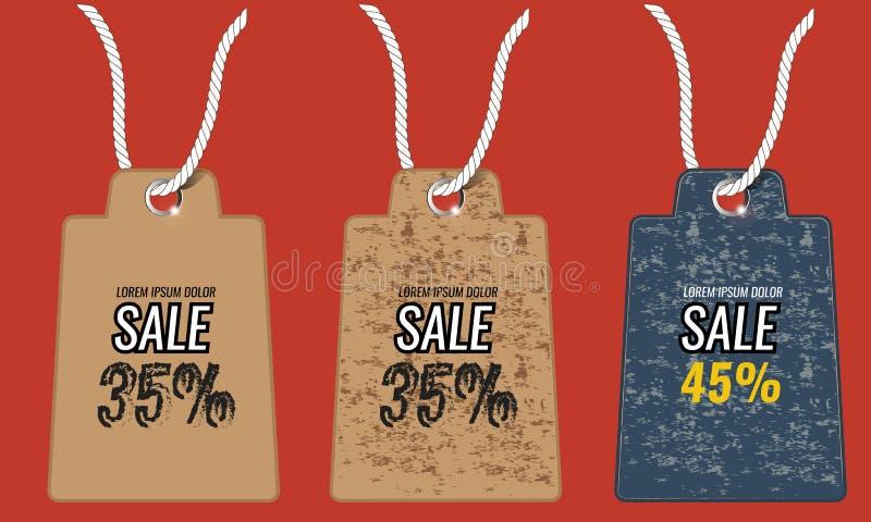 Vieilles rétros cartes d'étiquette de vintage à vendre la bannière avec la corde illustration stock