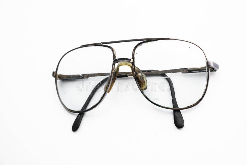 Vieilles rétros lunettes sur le fond blanc photographie stock libre de droits