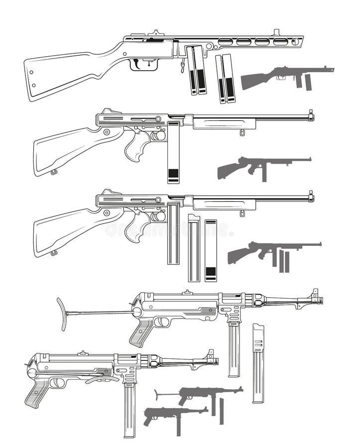 Vieilles rétros mitraillettes noires et blanches graphiques illustration libre de droits