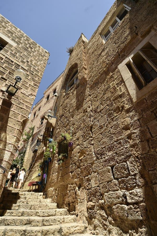Vieilles rue et maisons antiques dans la ville de Jaffa, près de Tel Aviv, l'Israël photographie stock libre de droits