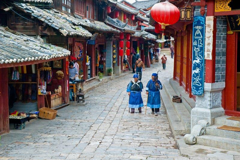 Vieilles rues de ville de Lijiang photo libre de droits