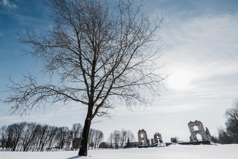 Vieilles ruines abandonnées de manoir en Lithuanie République de Pavlov de République de Paulava image stock