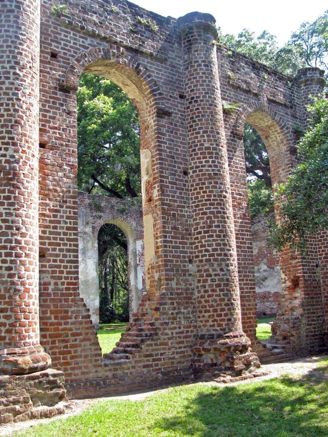 Vieilles ruines d'église en Caroline du Sud photographie stock