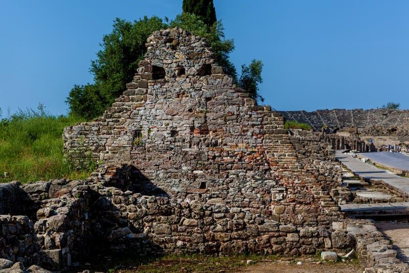 Vieilles ruines de la ville de la Turquie latérale photo stock