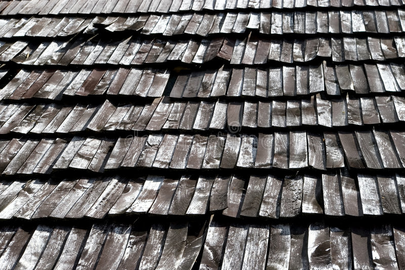 Vieilles tuiles de toit en bois photos libres de droits