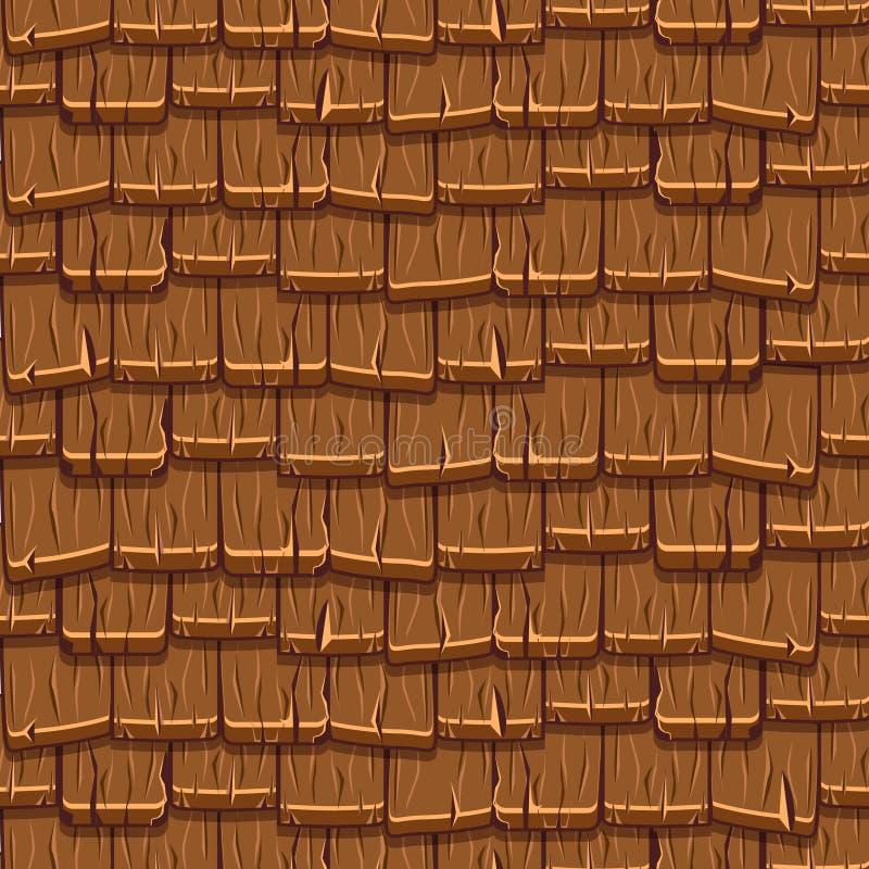 Vieilles tuiles de toit en bois brunes sans couture illustration libre de droits