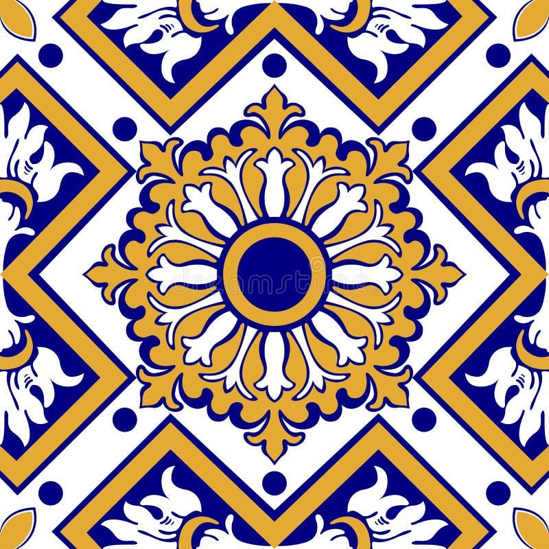 Vieilles tuiles florales illustration de vecteur
