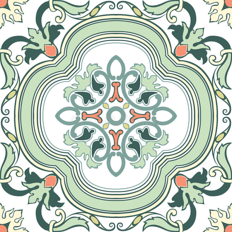 Vieilles tuiles florales illustration stock