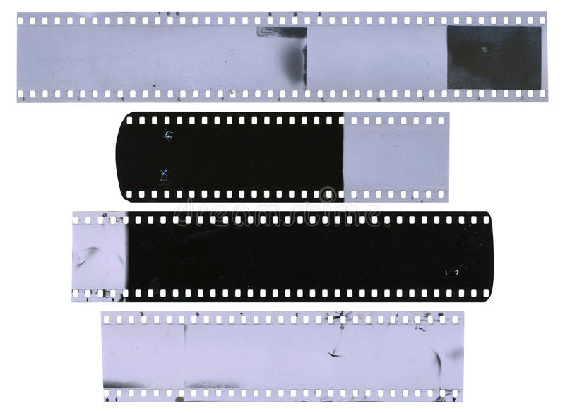 Vieilles, utilisées, poussiéreuses et rayées bandes de pellicule à celluloïde image stock