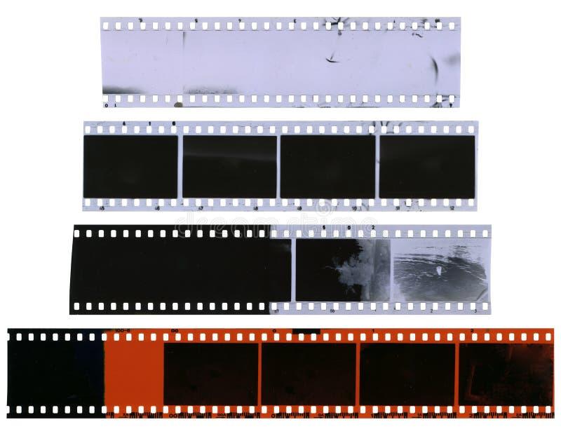 Vieilles, utilisées, poussiéreuses et rayées bandes de pellicule à celluloïde photos libres de droits