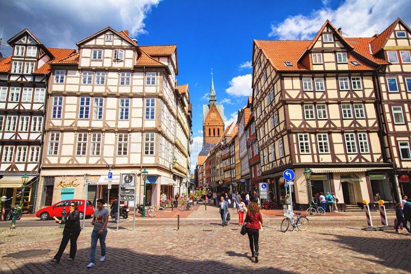 Vieilles ville et église de Marktkirche à Hanovre photos libres de droits