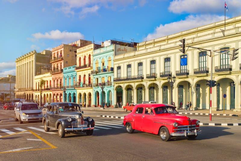 Vieilles voitures classiques et bâtiments colorés à La Havane du centre image stock