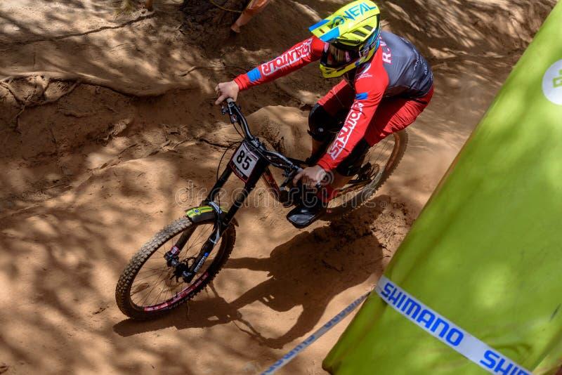 VIEIRA Roger BRA dans la COUPE DU MONDE de MERCEDES-BENZ UCI MTB 2019 - DHI Vallnord, Andorre en juillet 2019 photographie stock