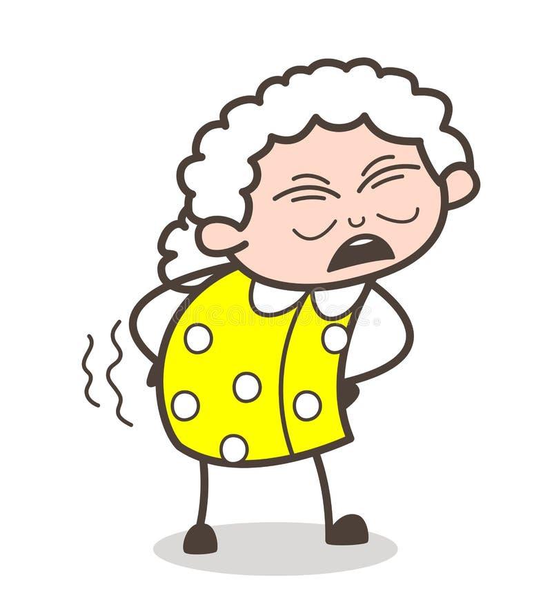 Vieja abuela de la historieta que consigue el dolor en el ejemplo del vector de la cintura ilustración del vector