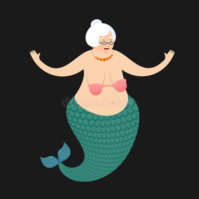 Vieja abuela de la sirena Abuela subacuática mítica con los pescados t libre illustration