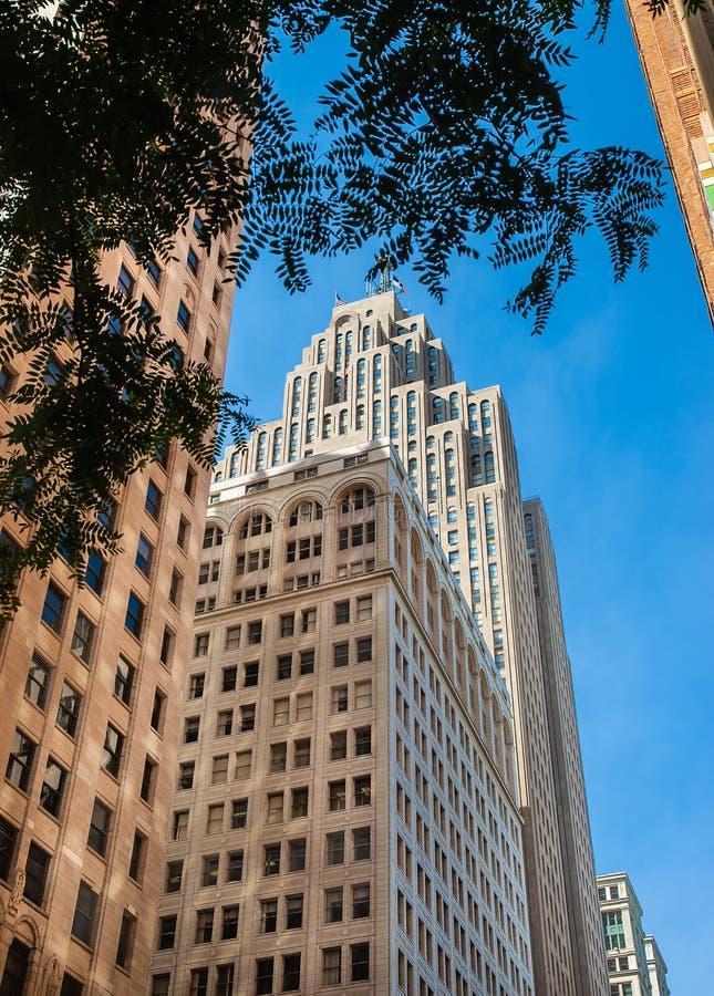 Vieja arquitectura clásica Detroit céntrica imágenes de archivo libres de regalías