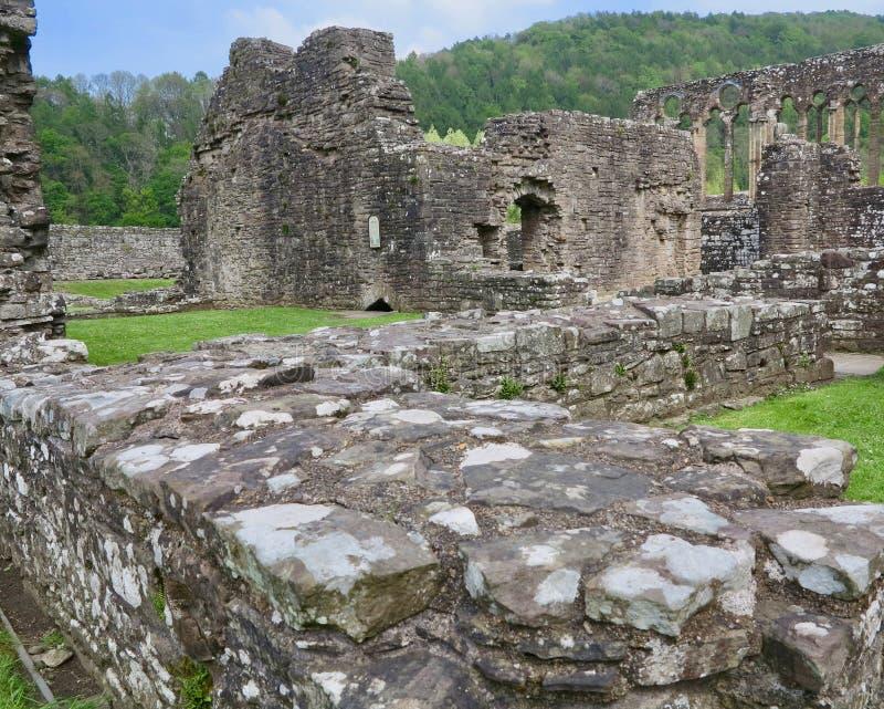 Vieja arquitectura de la abadía de Tintern foto de archivo libre de regalías
