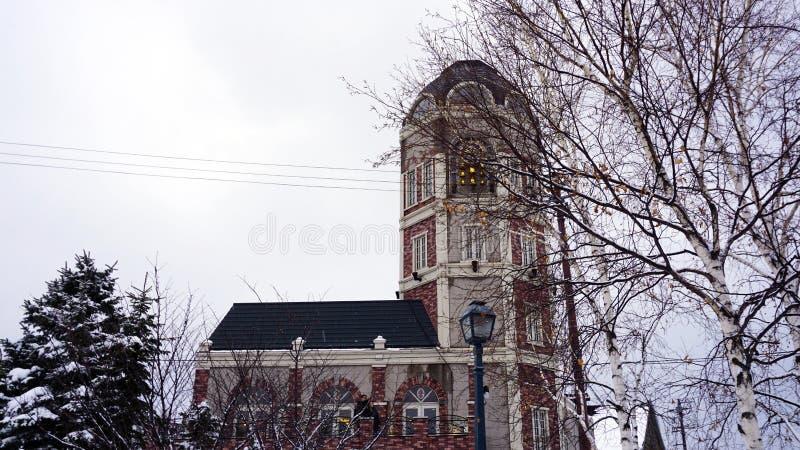 Vieja arquitectura de la ciudad de la ciudad de Otaru en invierno de la nieve imagen de archivo