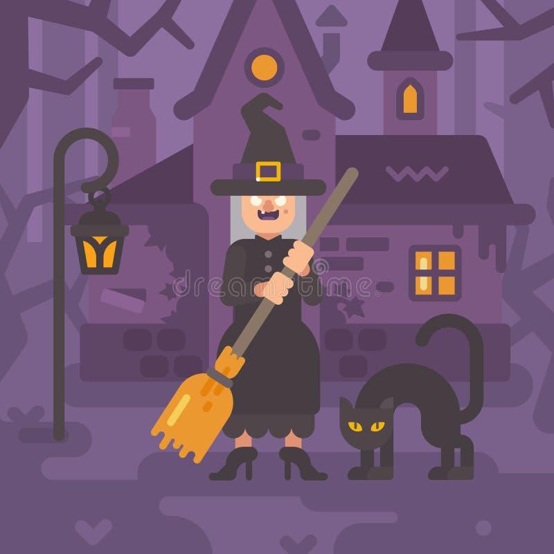 Vieja bruja con una escoba y un gato negro cerca de su choza ilustración del vector