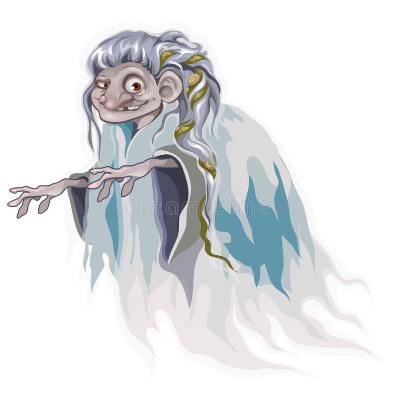 Vieja bruja de la historieta con alga marina en el pelo, aislado libre illustration