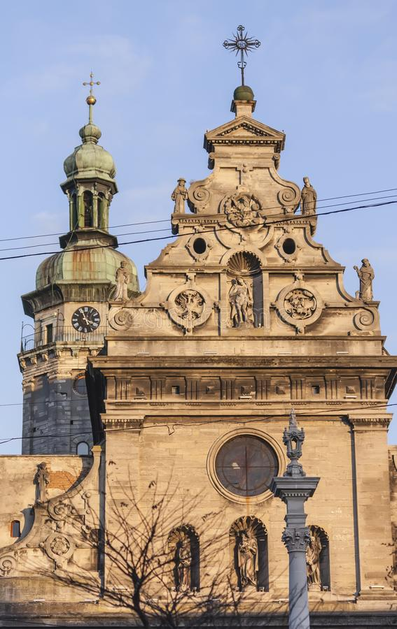 Vieja comunidad religiosa en el centro de Lviv fotos de archivo